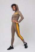 Оптом Спортивный костюм для фитнеса женский цвета хаки 212912Kh, фото 5