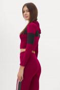 Оптом Костюм для фитнеса женский бордового цвета 212914Bo, фото 10