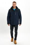 Оптом Молодежная зимняя куртка мужская темно-синего цвета 2155TS в Екатеринбурге