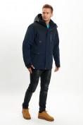Оптом Молодежная зимняя куртка мужская темно-синего цвета 2155TS в Екатеринбурге, фото 2