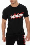 Оптом Мужские футболки с принтом черного цвета 22013Ch в Екатеринбурге