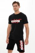 Оптом Мужские футболки с принтом черного цвета 22013Ch в Екатеринбурге, фото 2