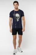 Оптом Подростковая футболка темно-синего цвета 220034TS в Екатеринбурге, фото 4