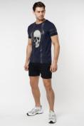 Оптом Подростковая футболка темно-синего цвета 220034TS в Екатеринбурге, фото 5