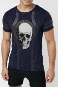 Оптом Подростковая футболка темно-синего цвета 220034TS в Екатеринбурге, фото 2