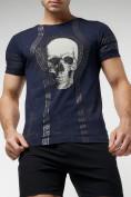 Оптом Подростковая футболка темно-синего цвета 220034TS в Екатеринбурге, фото 3