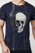 Оптом Подростковая футболка темно-синего цвета 220034TS в Екатеринбурге