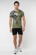 Оптом Подростковая футболка хаки цвета 220035Kh в Екатеринбурге, фото 5