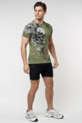 Оптом Подростковая футболка хаки цвета 220035Kh в Екатеринбурге, фото 6