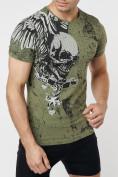 Оптом Подростковая футболка хаки цвета 220035Kh в Екатеринбурге, фото 3