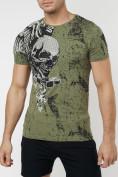 Оптом Подростковая футболка хаки цвета 220035Kh в Екатеринбурге, фото 4