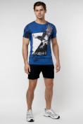 Оптом Подростковая футболка синего цвета 220036S в Екатеринбурге, фото 4