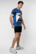 Оптом Подростковая футболка синего цвета 220036S в Екатеринбурге, фото 7