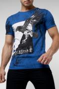Оптом Подростковая футболка синего цвета 220036S в Екатеринбурге, фото 3