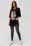 Оптом Женские футболки туники черного цвета 22003Ch