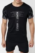 Оптом Подростковая футболка черного цвета 220072Ch