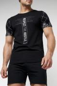 Оптом Подростковая футболка черного цвета 220072Ch, фото 2