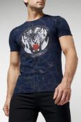Оптом Подростковая футболка темно-синего цвета 220081TS в Екатеринбурге, фото 2