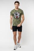 Оптом Подростковая футболка хаки цвета 220081Kh в Екатеринбурге, фото 4