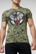 Оптом Подростковая футболка хаки цвета 220081Kh в Екатеринбурге, фото 3