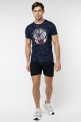 Оптом Подростковая футболка темно-синего цвета 220081TS в Екатеринбурге, фото 4