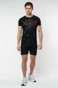 Оптом Подростковая футболка черного цвета 220146Ch в Екатеринбурге, фото 6