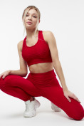 Оптом Костюм для фитнеса бордового цвета 22095Bo, фото 9