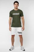 Оптом Мужская футболка с надпесью хаки цвета 221038Kh в Екатеринбурге, фото 4