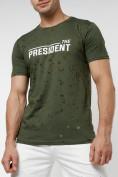 Оптом Мужская футболка с надпесью хаки цвета 221038Kh в Екатеринбурге, фото 2