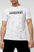 Оптом Мужская футболка с надпесью белого цвета 221038Bl в Екатеринбурге, фото 5