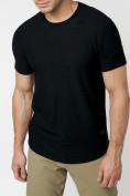 Оптом Однотонная футболка черного цвета 221063Ch в Екатеринбурге, фото 2