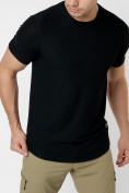 Оптом Однотонная футболка черного цвета 221063Ch в Екатеринбурге