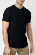 Оптом Однотонная футболка черного цвета 221063Ch в Екатеринбурге, фото 4