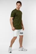 Оптом Мужская футболка с надписью хаки цвета 221085Kh в Екатеринбурге, фото 4