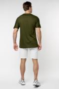 Оптом Мужская футболка с надписью хаки цвета 221085Kh в Екатеринбурге, фото 5