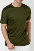 Оптом Мужская футболка с надписью хаки цвета 221085Kh в Екатеринбурге, фото 2