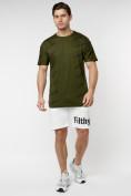 Оптом Мужская футболка с надписью хаки цвета 221085Kh в Екатеринбурге, фото 3
