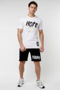 Оптом Мужская футболка с надписью белого цвета 221109Bl, фото 5