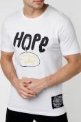 Оптом Мужская футболка с надписью белого цвета 221109Bl, фото 2