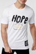 Оптом Мужская футболка с надписью белого цвета 221109Bl, фото 3