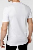 Оптом Мужская футболка с надписью белого цвета 221109Bl, фото 4