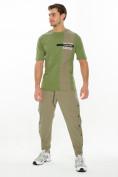 Оптом Костюм штаны с футболкой хаки цвета 221117Kh