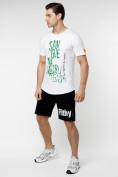 Оптом Мужская футболка с надписью белого цвета 221146Bl в Екатеринбурге, фото 6