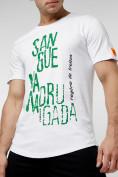 Оптом Мужская футболка с надписью белого цвета 221146Bl в Екатеринбурге