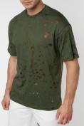 Оптом Однотонная футболка цвета хаки 221404Kh в Екатеринбурге