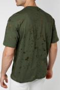 Оптом Однотонная футболка цвета хаки 221404Kh в Екатеринбурге, фото 5