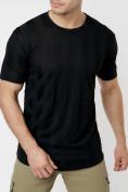 Оптом Однотонная футболка черного цвета 221411Ch в Екатеринбурге, фото 2