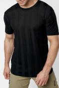 Оптом Однотонная футболка черного цвета 221411Ch в Екатеринбурге, фото 4