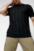 Оптом Однотонная футболка черного цвета 221411Ch в Екатеринбурге