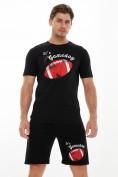 Оптом Мужские футболки с принтом черного цвета 221414Ch в Екатеринбурге, фото 5